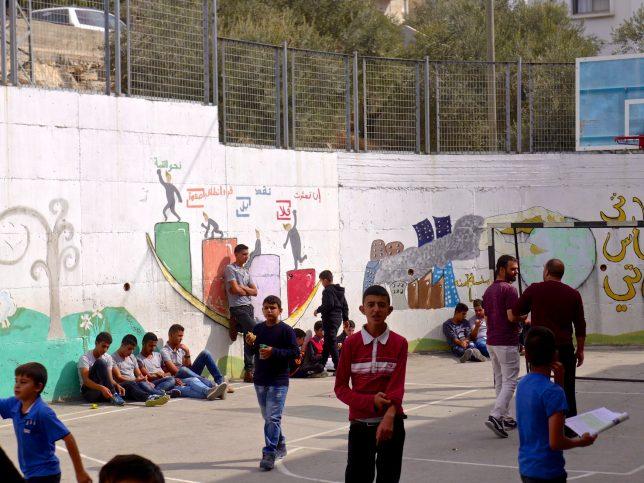 The cramped playground at Madama Boys' School