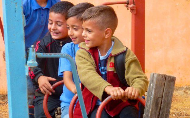 Bruqin school playground, West Bank, Palestinian children